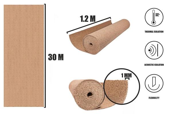 Kurk op rol 1mm (30x1,2m)