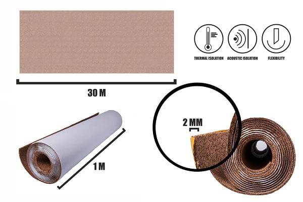 Zelfklevende kurkrol 2mm (30m)