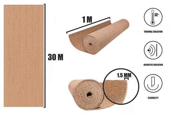 Korek v rolích 1,5mm (30m)