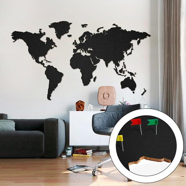 Mapa Světa Velka Černa 200x105cm