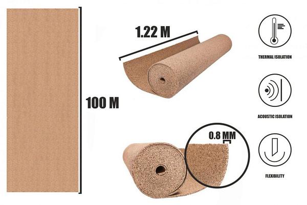Korek v rolích 0,8mm (100x1,22m)