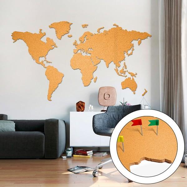 Korková mapa světa zlatá
