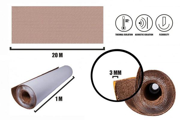 Samolepící korek role 3mm (20m)