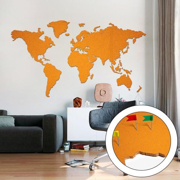 Korková Mapa Světa Oranžová