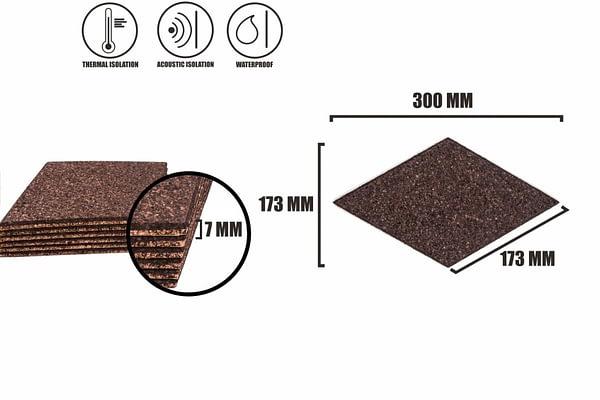 Tabliczka korkowa samoprzylepna ROMB