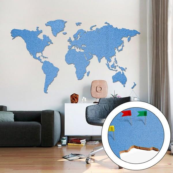 Korková mapa světa modrá