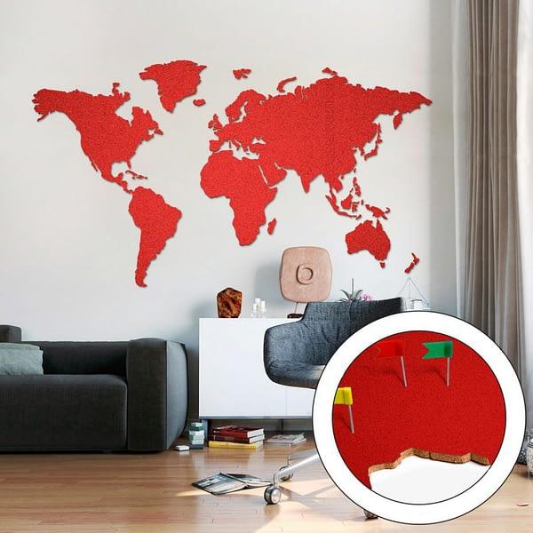 Korková Mapa Světa Červená